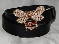 Ремень женский кожаный Gucci Пчела, золотистая ширина 30 мм. 930590