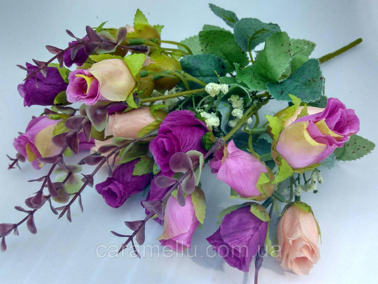 Букет бутоны роз. Сиренево-лососевый