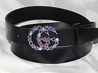 Ремень женский кожаный GUCCI цветные стразы, ширина 35 мм. 930591