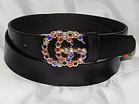 Ремень женский кожаный GUCCI цветные стразы, ширина 35 мм. 930592