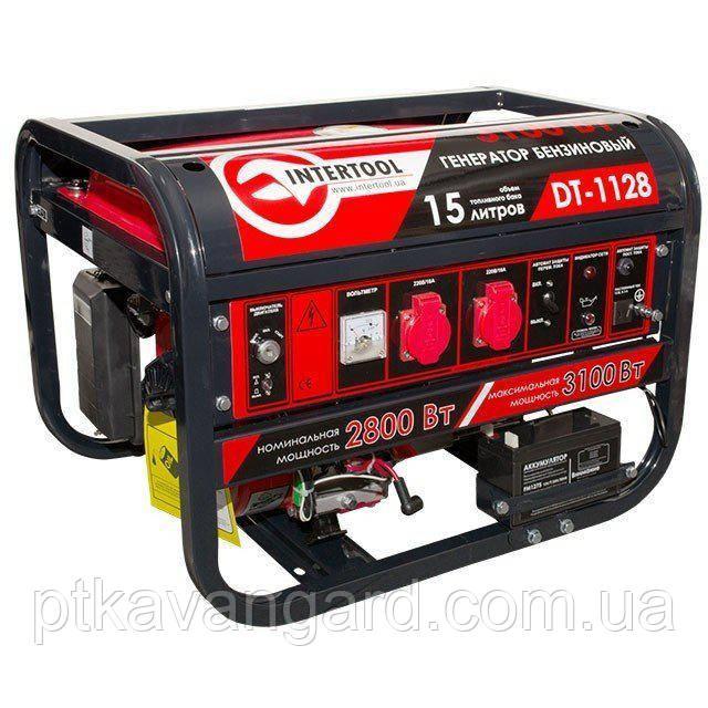 Генератор бензиновый 3,1 кВт., 6,5 л.с., 4-х тактный, электр и ручн пуск 51,кг. INTERTOOL DT-1128
