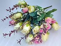 Букет бутоны роз.  Молочно-розовый