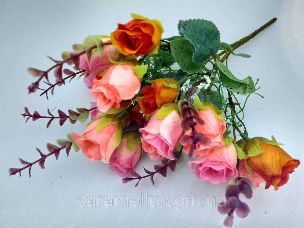 Букет бутоны роз. Оранжево-розовый