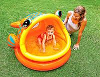 Детский надувной бассейн Intex 57109 «Рыбка» с навесом, 124 х 109 х 71 см