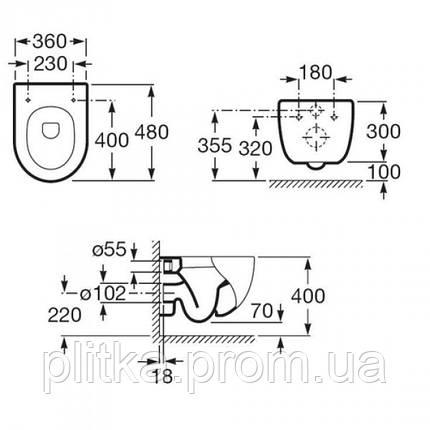 MERIDIAN-N Compacto подвесной унитаз с сиденьем slow-closing Roca, фото 2