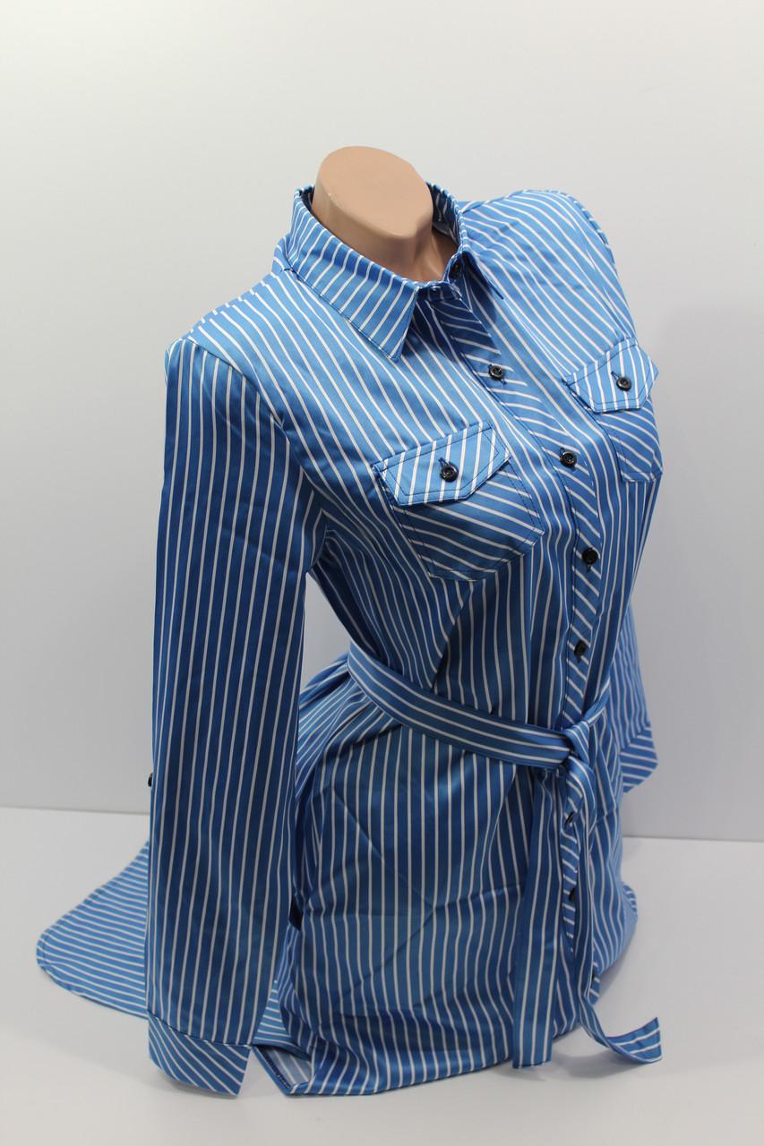 Платье-рубашка в полоску с удлиненной спиной оптом VSA светлый электрик