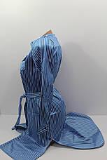 Платье-рубашка в полоску с удлиненной спиной оптом VSA светлый электрик, фото 3