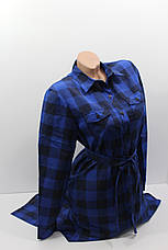 Платье-рубашка в клетку с удлиненной спиной оптом VSA темно-синий, фото 3