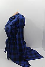Платье-рубашка в клетку с удлиненной спиной оптом VSA темно-синий, фото 2