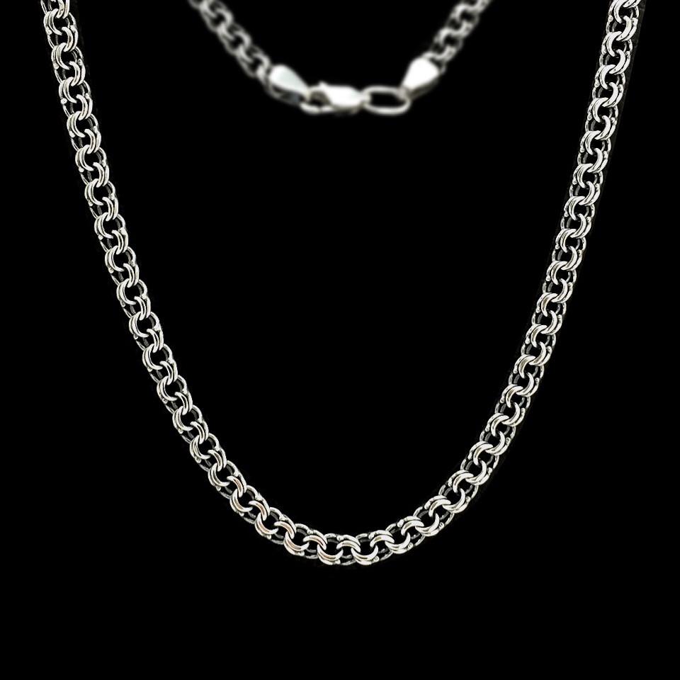 Серебряная цепочка, 550мм, 15 грамм, плетение Бисмарк, чернение