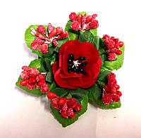 Бант ручной работы, мак и ягодки, на резинке, диаметр 9 см
