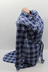 Платье-рубашка в клетку с удлиненной спиной оптом VSA темно-синий+джинс