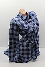 Платье-рубашка в клетку с удлиненной спиной оптом VSA темно-синий+джинс, фото 3
