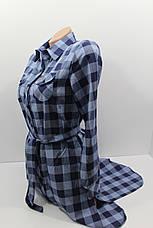 Платье-рубашка в клетку с удлиненной спиной оптом VSA темно-синий+джинс, фото 2