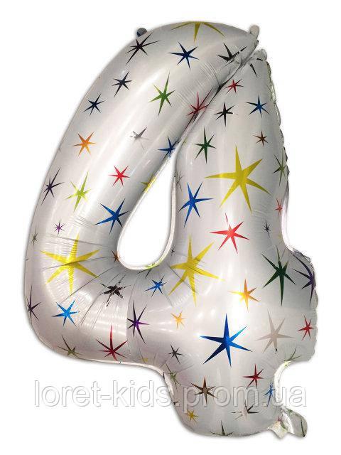 """Шар фольгированный звёзды цифра """"4"""" , 100 см."""