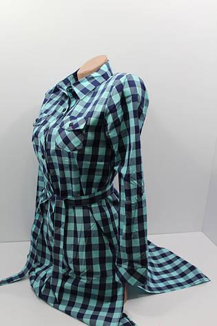 Платье-рубашка в клетку с удлиненной спиной оптом VSA темно-синий+минт, фото 2