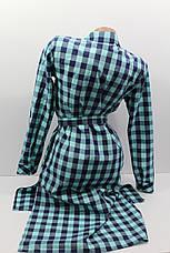 Платье-рубашка в клетку с удлиненной спиной оптом VSA темно-синий+минт, фото 3