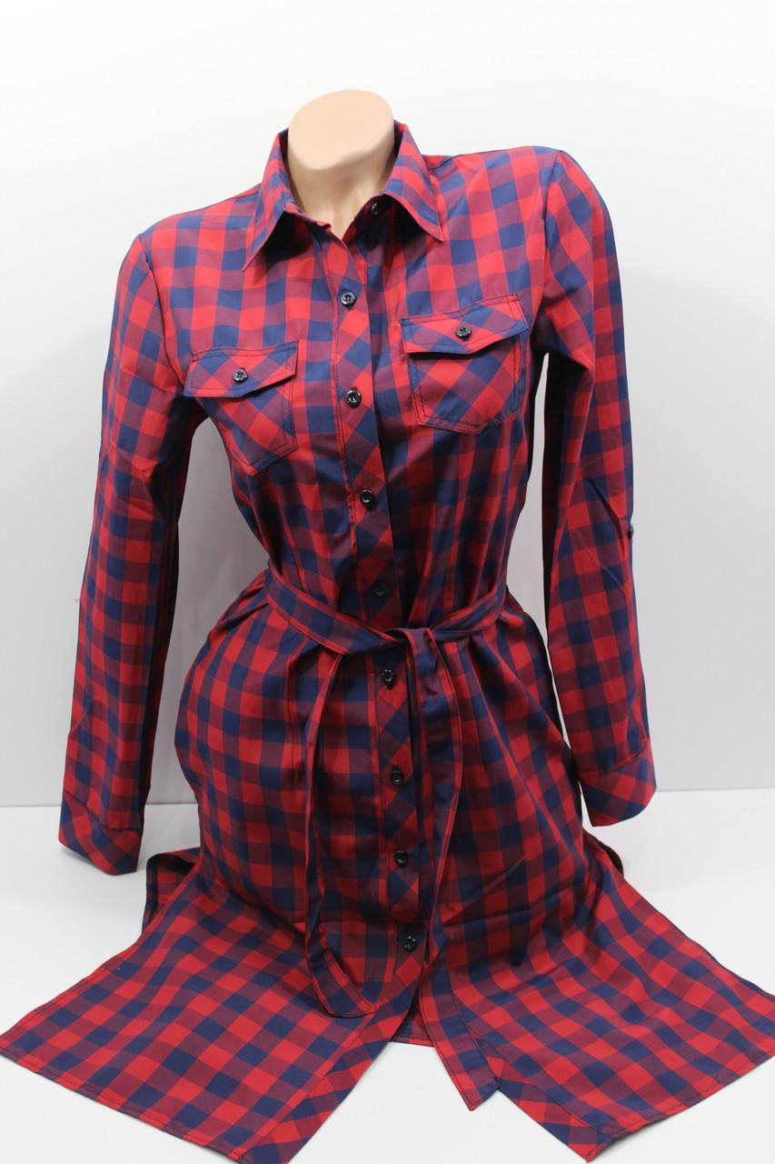 Платье-рубашка в клетку с удлиненной спиной оптом VSA темно-синий+красный