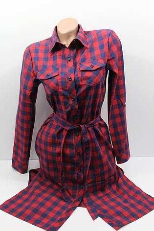 Платье-рубашка в клетку с удлиненной спиной оптом VSA темно-синий+красный, фото 2
