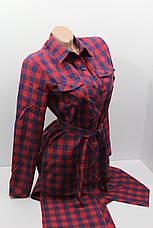 Платье-рубашка в клетку с удлиненной спиной оптом VSA темно-синий+красный, фото 3