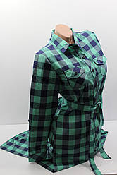 Платье-рубашка в клетку с удлиненной спиной оптом VSA темно-синий+минт крупная