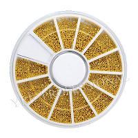Бульон для дизайна ногтей YRE BVK-ZM, золото металлический в каруселе, кол-во 12 шт, Бульоны, Бульонка, Дизайн, Материалы для дизайна ногтей
