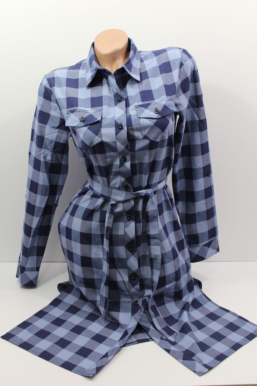 Платье-рубашка в клетку с удлиненной спиной оптом VSA джинс крупная