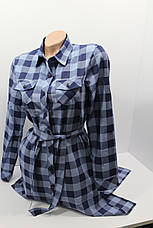 Платье-рубашка в клетку с удлиненной спиной оптом VSA джинс крупная, фото 2