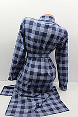 Платье-рубашка в клетку с удлиненной спиной оптом VSA джинс крупная, фото 3