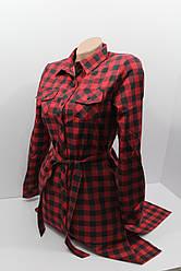 Платье-рубашка в клетку с удлиненной спиной оптом VSA красный+черный