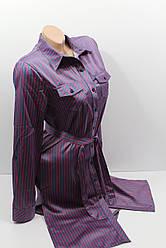 Платье-рубашка в полоску с удлиненной спиной оптом VSA