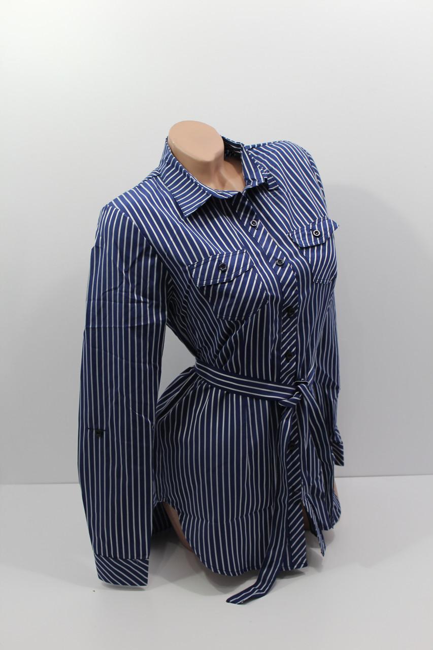 Женские рубашки в полоску с удлиненной спиной оптом VSA т.синий
