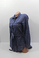 Женские рубашки в полоску с удлиненной спиной оптом VSA т.синий, фото 2