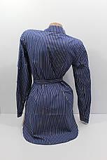 Женские рубашки в полоску с удлиненной спиной оптом VSA т.синий, фото 3
