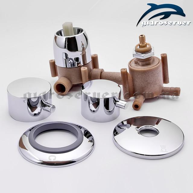 Смеситель для душевой кабинки, гидробокса S3-100P с соединениями на переключателе под елочку (штуцер) с размером 10 мм.