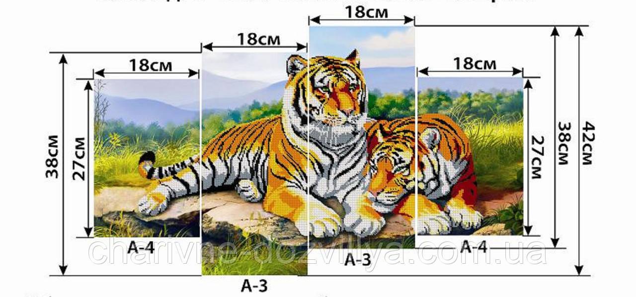 """Схема-полиптих для вышивки бисером на габардине """"Тигры"""""""
