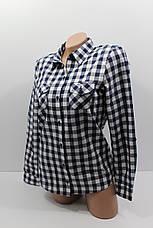 Женские рубашки в клетку оптом VSA т.синий+белый , фото 2