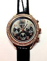 Женские часы SOUSOU, кварцевые черные