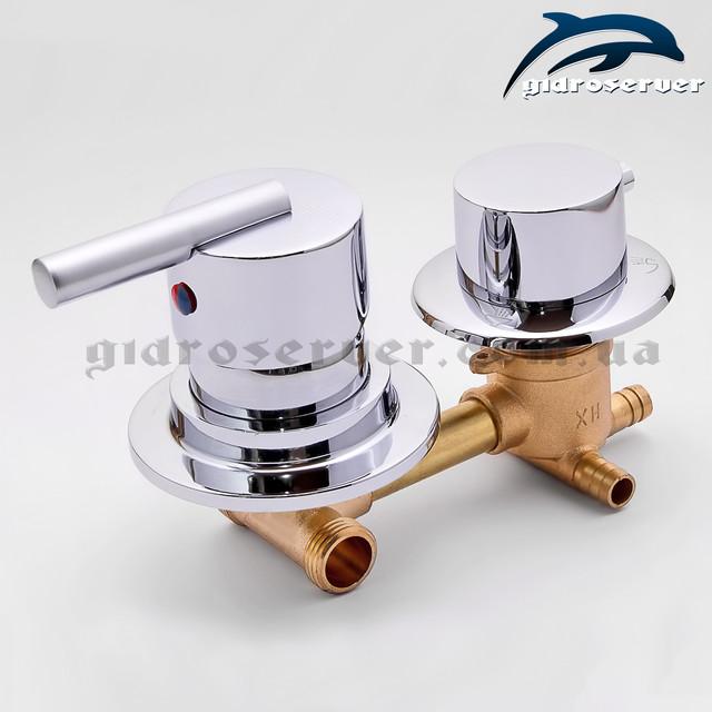 Смеситель для душевой кабины, гидромассажного бокса S3-90 латунный с расстоянием между центрами узлов 90 мм.