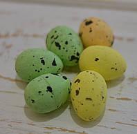 Яйца разноцветные 2,5*1,5см  набор 6шт