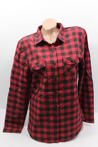 Женские рубашки в клетку полубатал оптом VSA красный+черный, фото 2