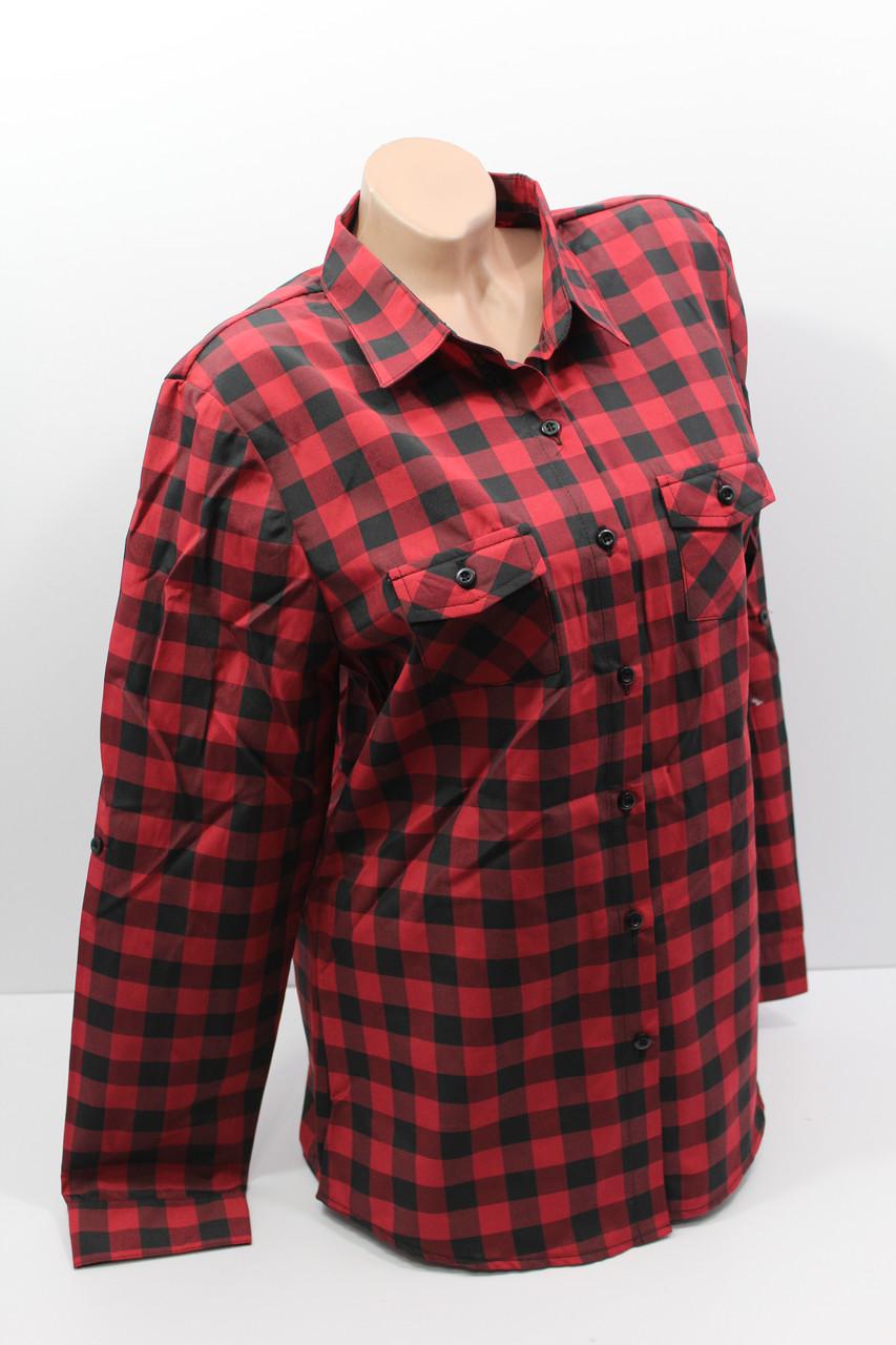 Женские рубашки в клетку полубатал оптом VSA красный+черный