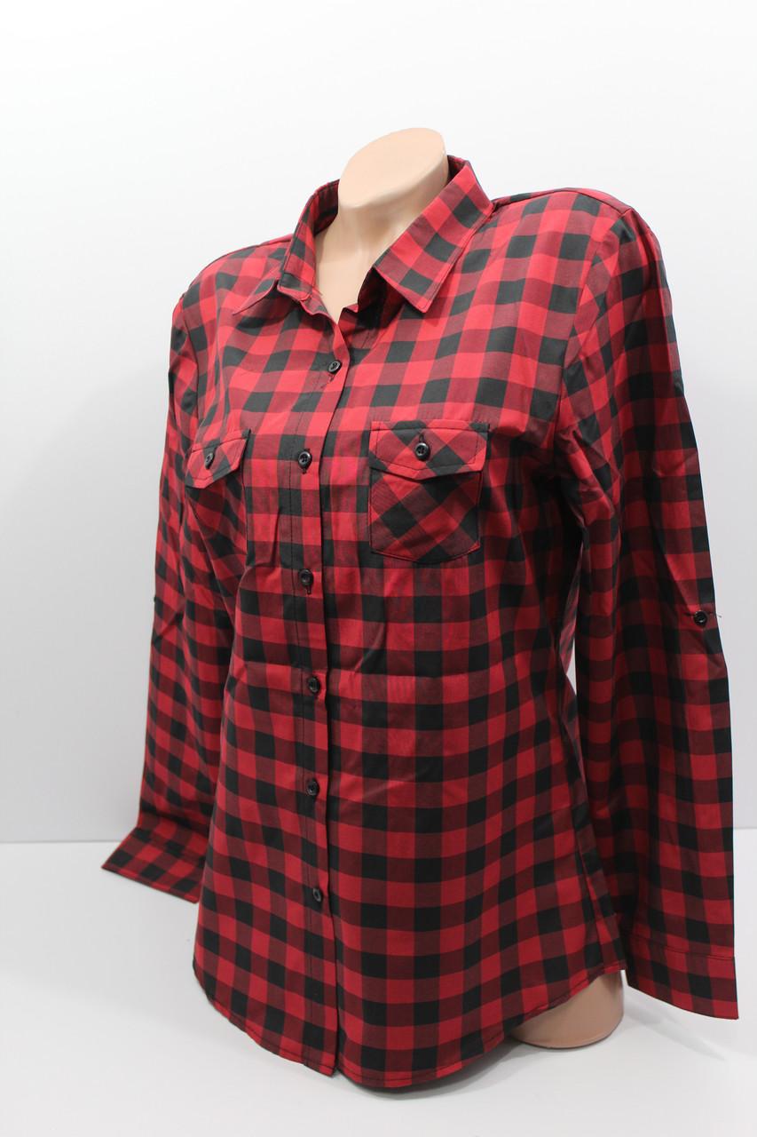 9e926da2d02353d Женские рубашки в клетку полубатал оптом VSA красный+черный, цена 160 грн.,  купить Хмельницький — Prom.ua (ID#672642056)
