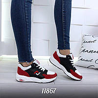 Женские кроссовки белые с красным