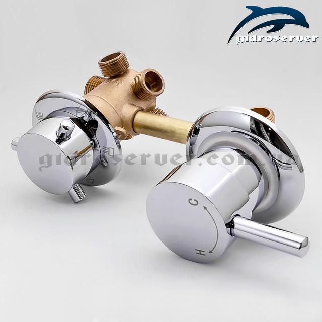 Смеситель, кран переключатель G-5 120 мм для гидробокса вид сбоку.