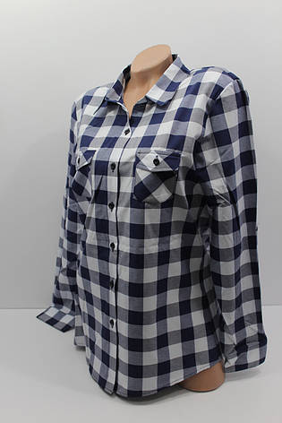 Женские рубашки в клетку полубатал оптом VSA белый+синий, фото 2
