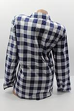 Женские рубашки в клетку полубатал оптом VSA белый+синий, фото 3