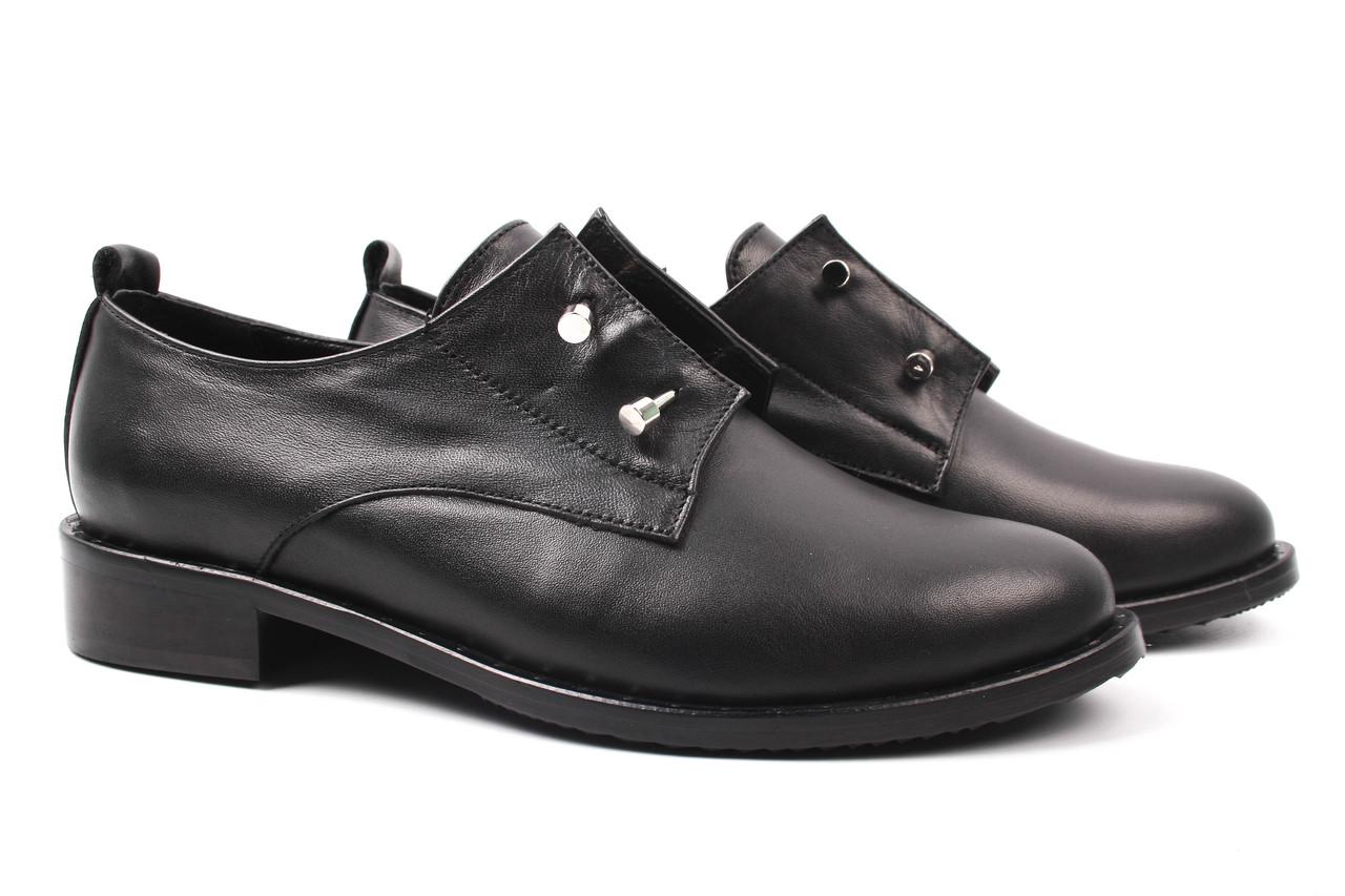 Туфли женские Euromoda натуральная кожа, цвет черный (каблук, стильные, комфорт, Турция)