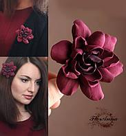 """""""Гардения марсала"""" заколка/брошь цветок . Украшение ручной работы из полимерной глины, фото 1"""