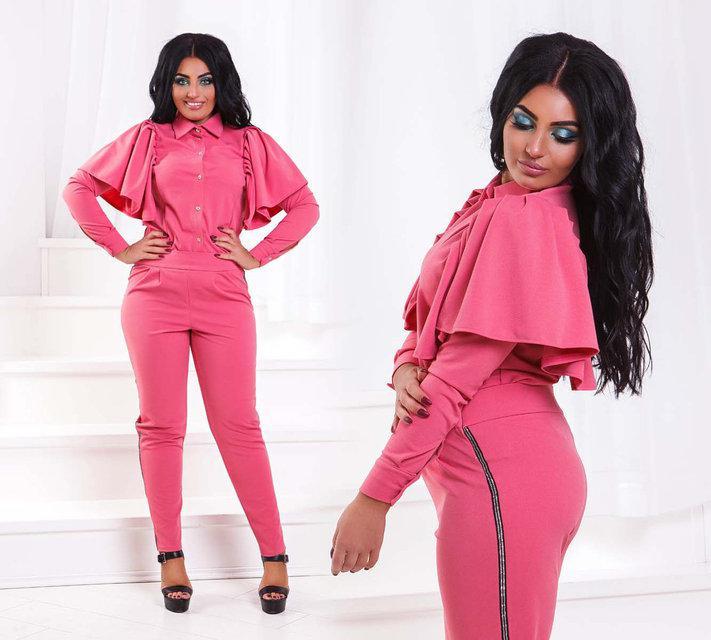 f4aa0f6bbf38227 Стильный нарядный женский брючный костюм в больших размерах
